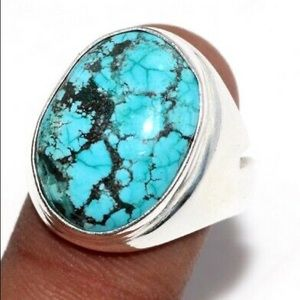 New Turquoise Ring, Unique, size 9, stamped 925